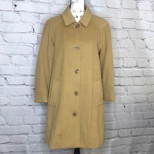 Lands End Camel Wool/Nylon/Cashmere Long Jacket - size 8